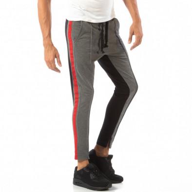 Jogger pentru bărbați în gri și negru cu banda roșie it240818-100 2
