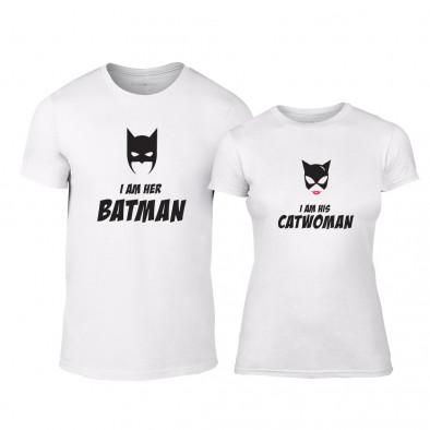 tricouri pentru cupluri i m her batman i m his catwoman alb tmn cp