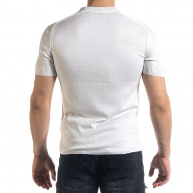 Tricou cu guler bărbați Breezy alb tr110320-56 3