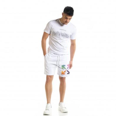 Set sportiv alb pentru bărbați cu imprimeu tr080520-63 2
