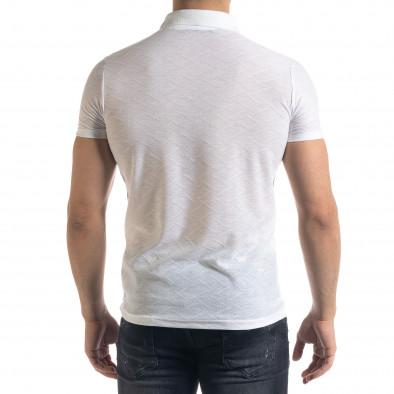 Tricou cu guler bărbați Lagos alb tr110320-21 3