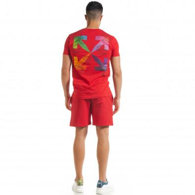 Set sportiv roșu pentru bărbați cu imprimeu tr080520-65 4