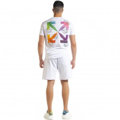 Set sportiv alb pentru bărbați cu imprimeu tr080520-63 4