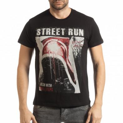 Tricou negru Street Run pentru bărbați tsf190219-83 2