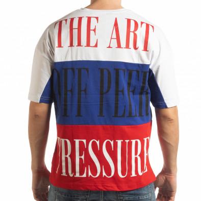 Tricou în alb, albastru și roșu pentru bărbați tsf190219-28 3