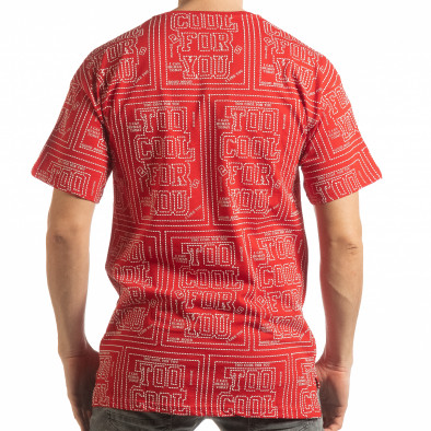 Tricou roșu pentru bărbați cu spate prelungit tsf190219-27 3