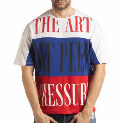 Tricou în alb, albastru și roșu pentru bărbați tsf190219-28 2
