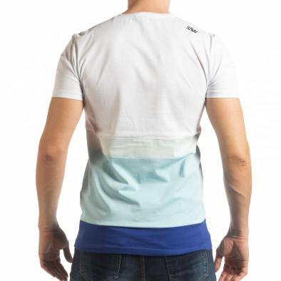 Tricou în alb și albastru pentru bărbați tsf190219-39 3