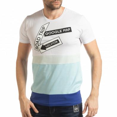 Tricou în alb și albastru pentru bărbați tsf190219-39 2