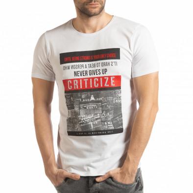 Tricou alb Criticize pentru bărbați tsf190219-63 2