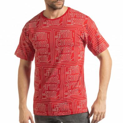 Tricou roșu pentru bărbați cu spate prelungit tsf190219-27 2