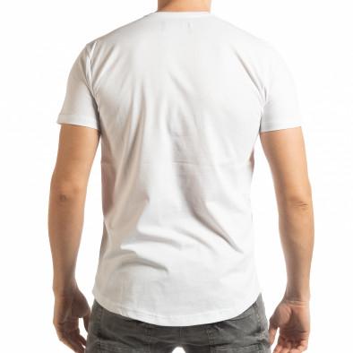 Tricou pentru bărbați alb cu craniu de cauciuc tsf190219-23 3
