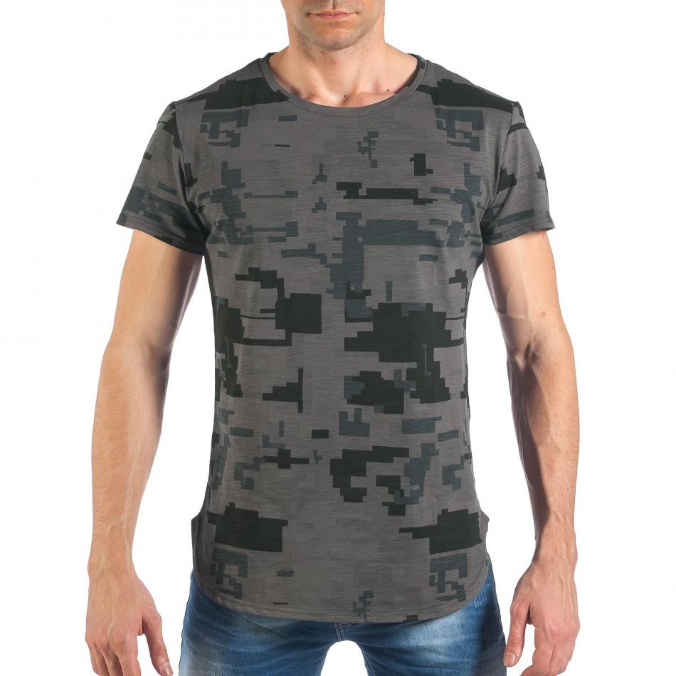 Tricou de bărbați colorat în gri închis it260318-190