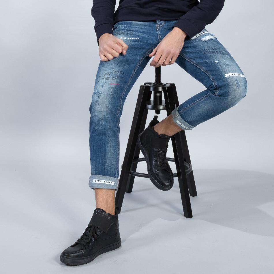 Blugi albaștri pentru bărbați cu imprimare și manșete it051218-7