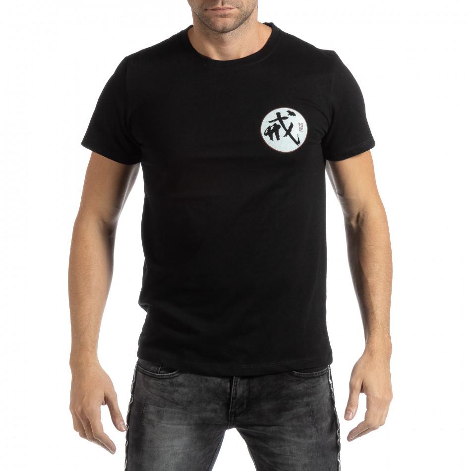 Tricou negru cu motiv oriental pentru bărbați it261018-119