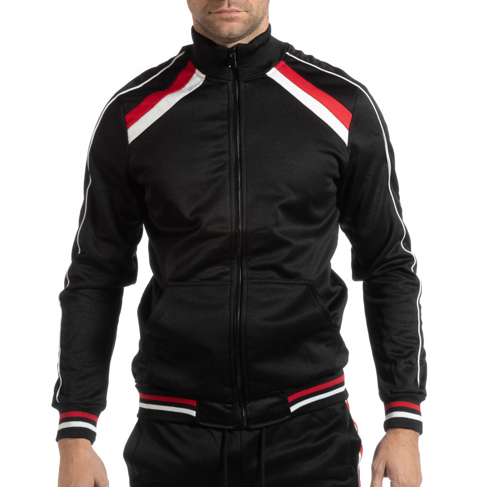 Hanorac simplu pentru bărbați negru cu benzi albe și roșii it261018-79
