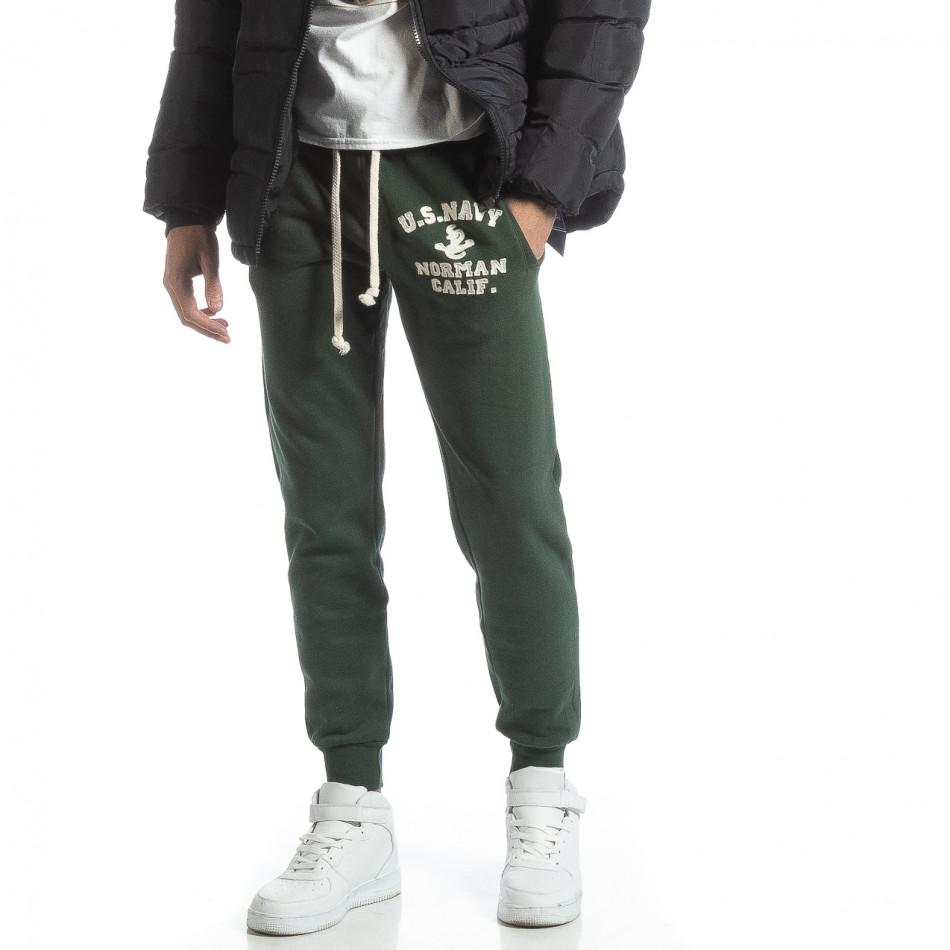 Pantaloni sport matlasați verzi U.S.Navy pentru bărbați it051218-32
