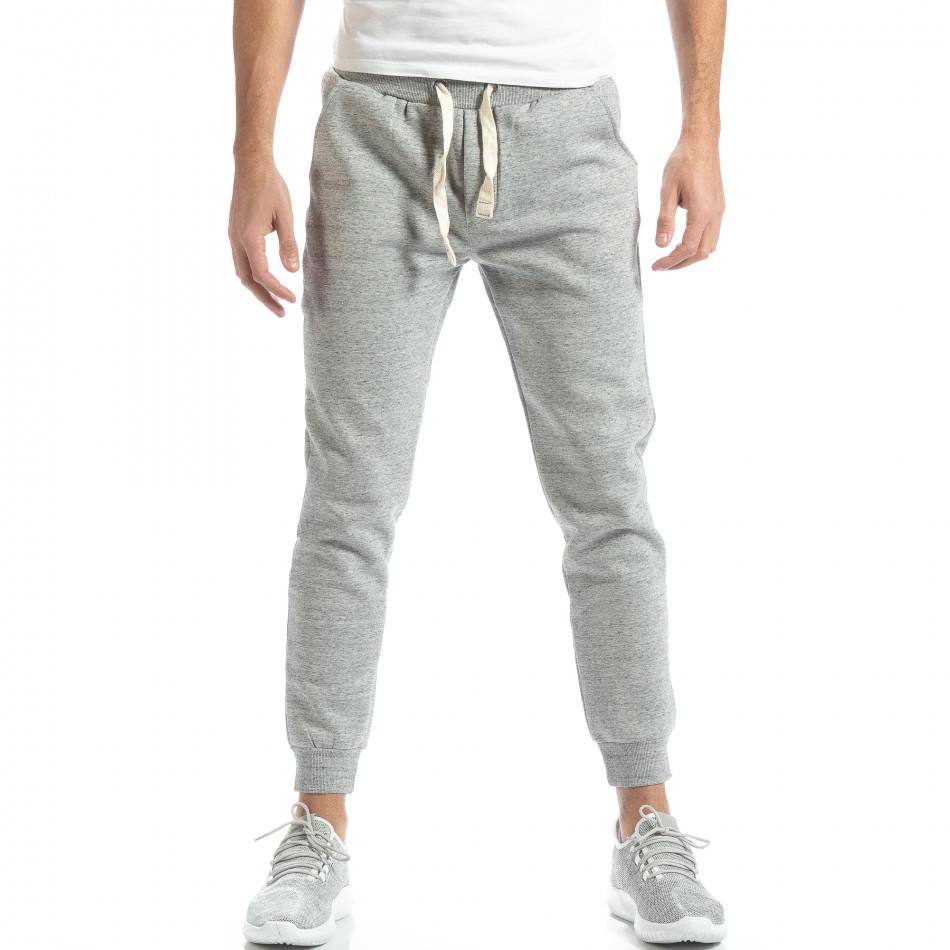 Pantaloni de trening pentru bărbați basic în melanj gri it051218-16