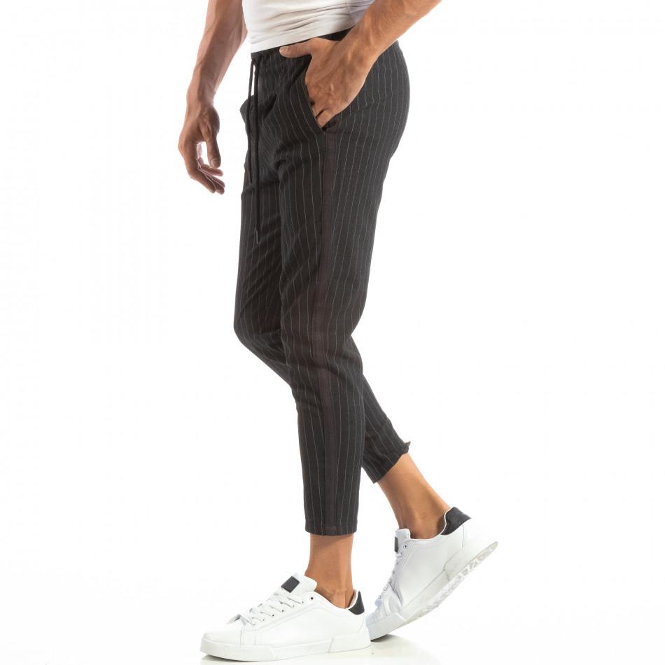 Pantaloni ușori gri închis în dungi pentru bărbați it240818-69