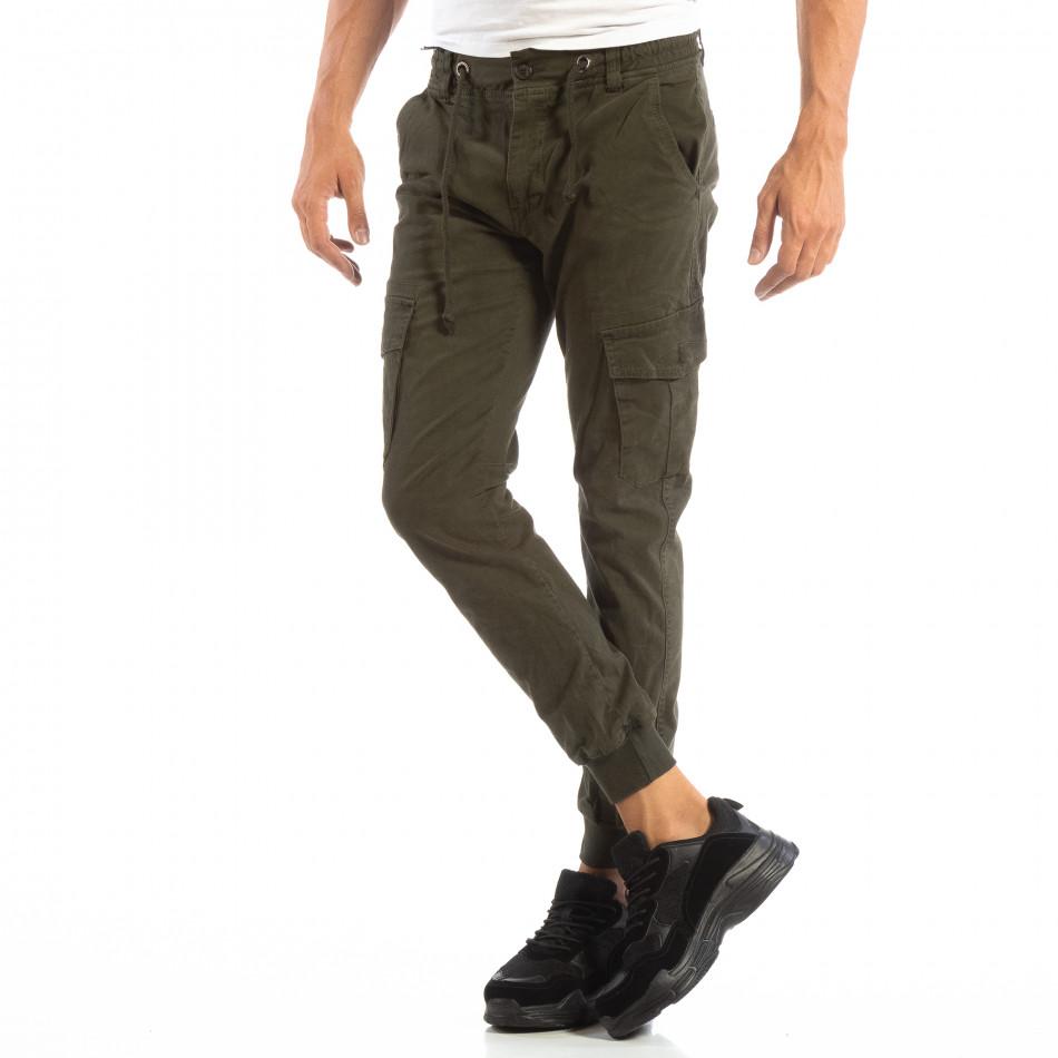 Cargo Jogger verde pentru bărbați cu șiret în talie it240818-9