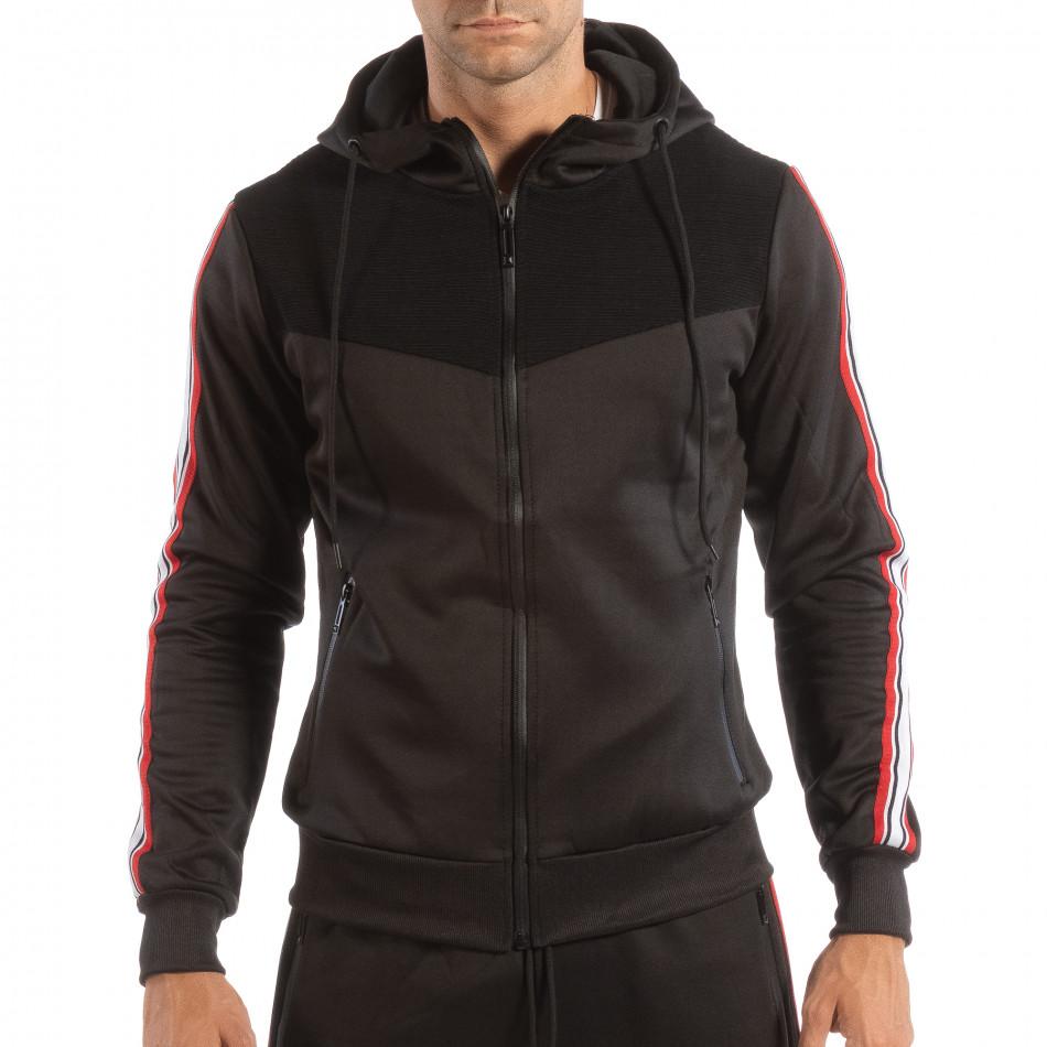 Hanorac negru pentru bărbați cu banda în 3 culori it240818-112