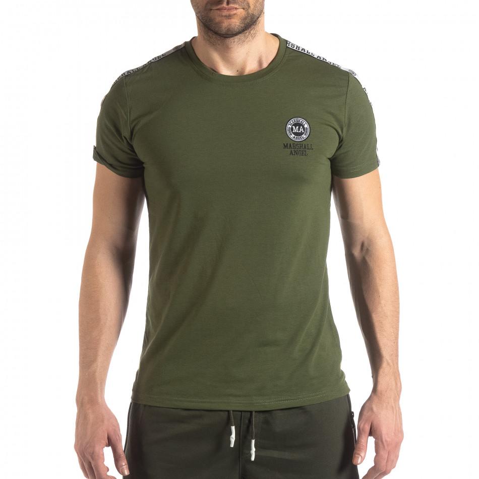 Tricou de bărbați verde cu logo și bandă it210319-82
