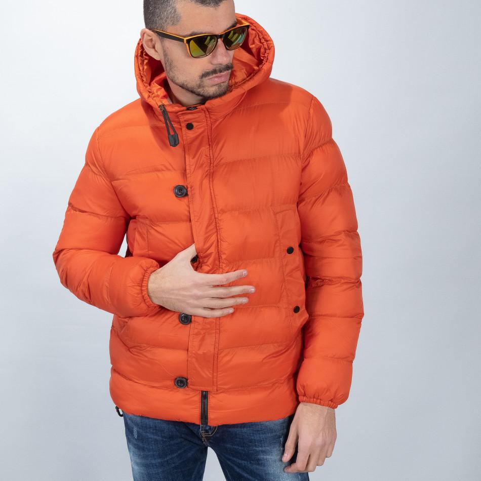 Geacă de bărbați cu puf în portocaliu it051218-69