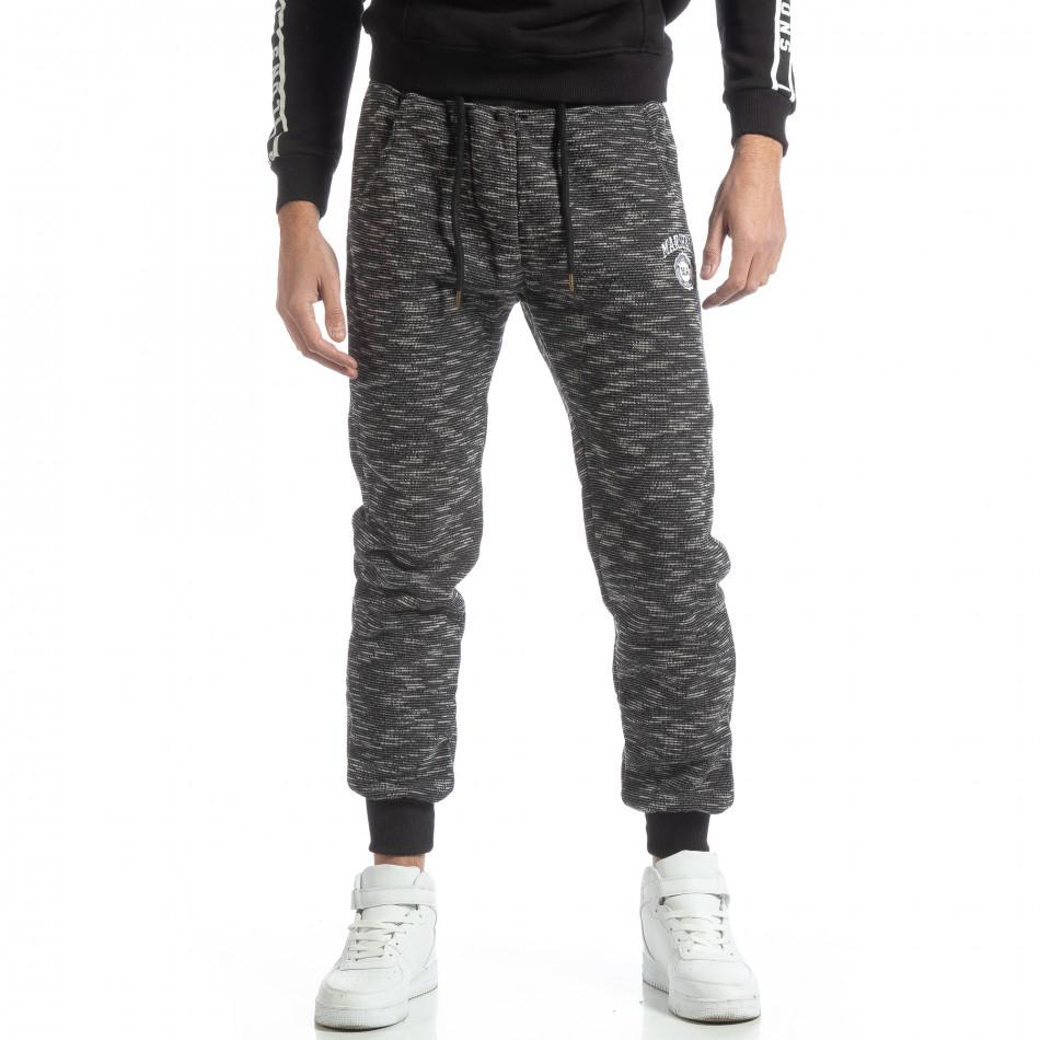 Pantaloni sport groși în melanj negru pentru bărbați it051218-19