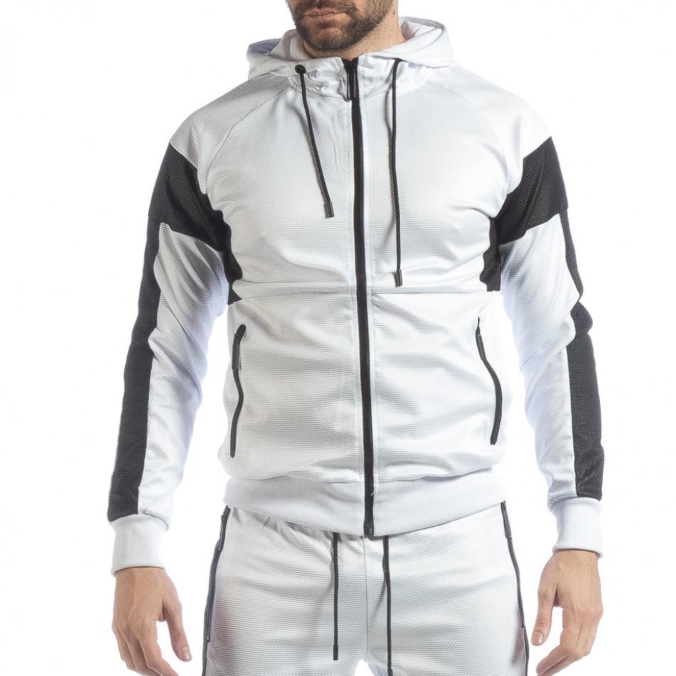 Hanorac pentru bărbați alb cu negru it040219-114