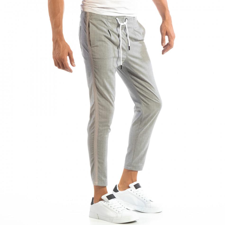 Pantaloni ușori în gri deschis în dungi pentru bărbați it240818-68