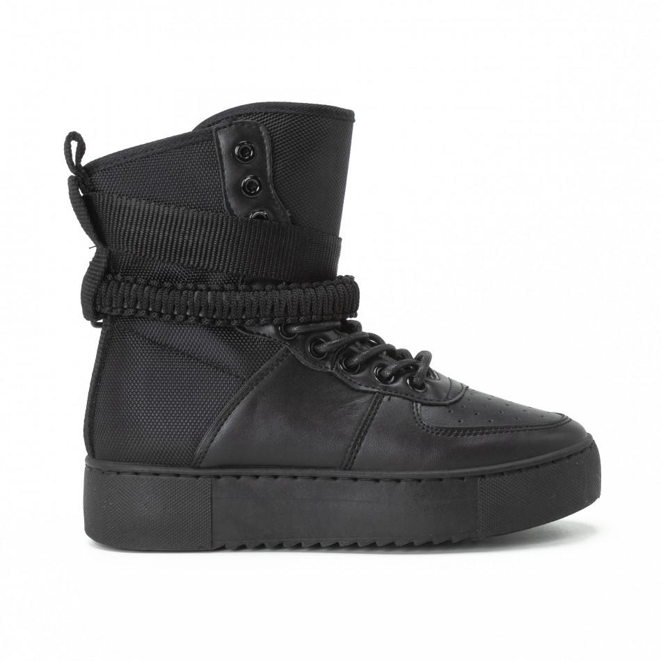 Teniși înalți pentru dama All black cu accesoriu it150818-62