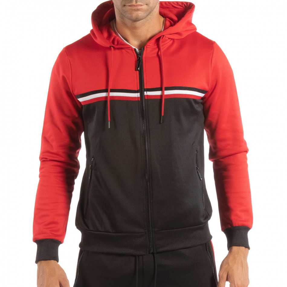 Hanorac în negru-roșu 3 striped pentru bărbați it240818-110