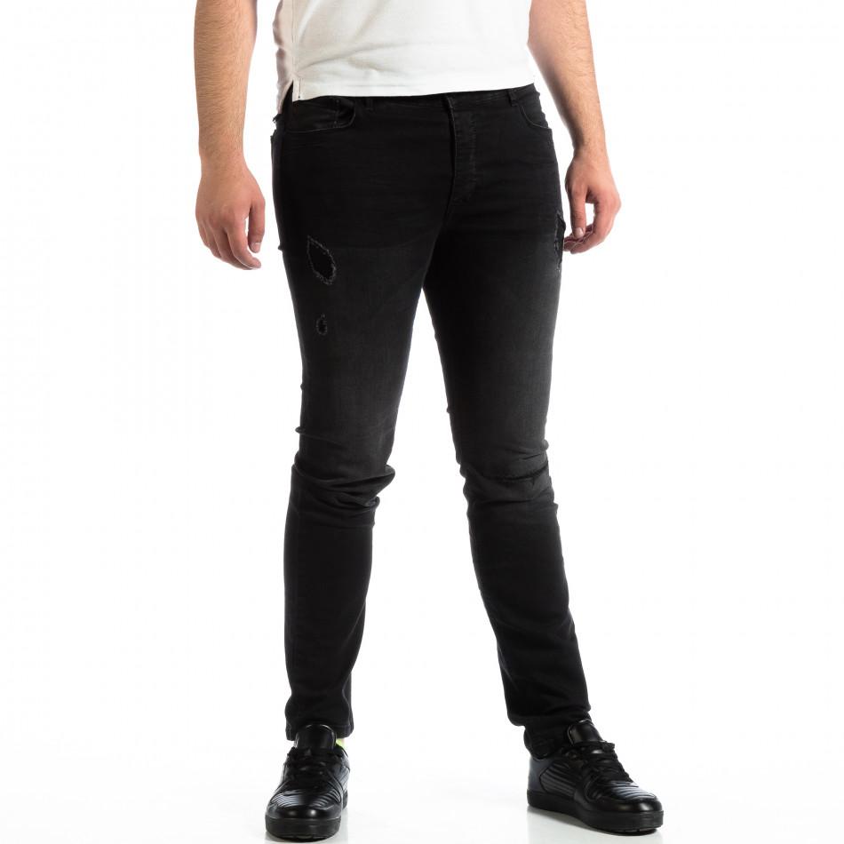 Slim Jeans negri pentru bărbați House cu patch-uri lp290918-145