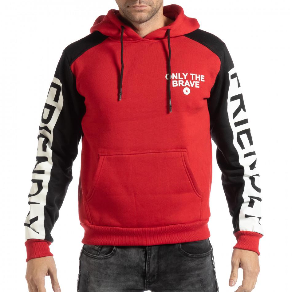 Hanorac gros pentru bărbați în roșu și negru it261018-89