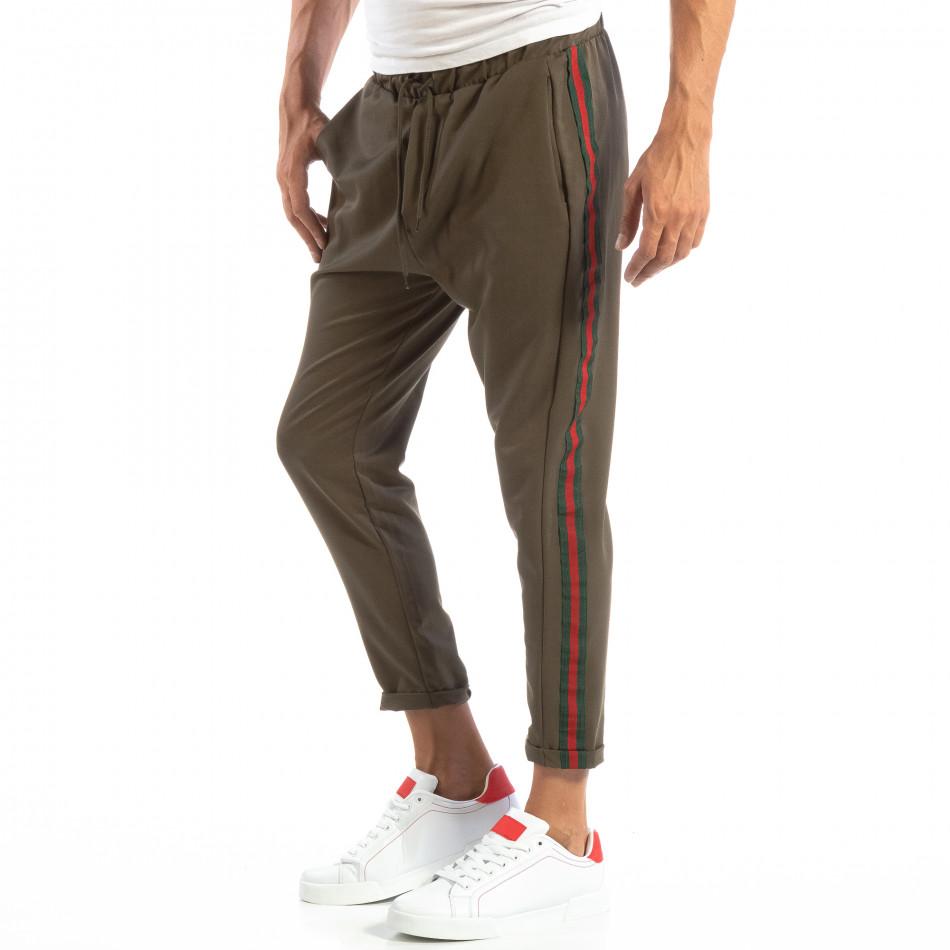 Pantaloni ușori în verde cu benzi pentru bărbați it240818-62