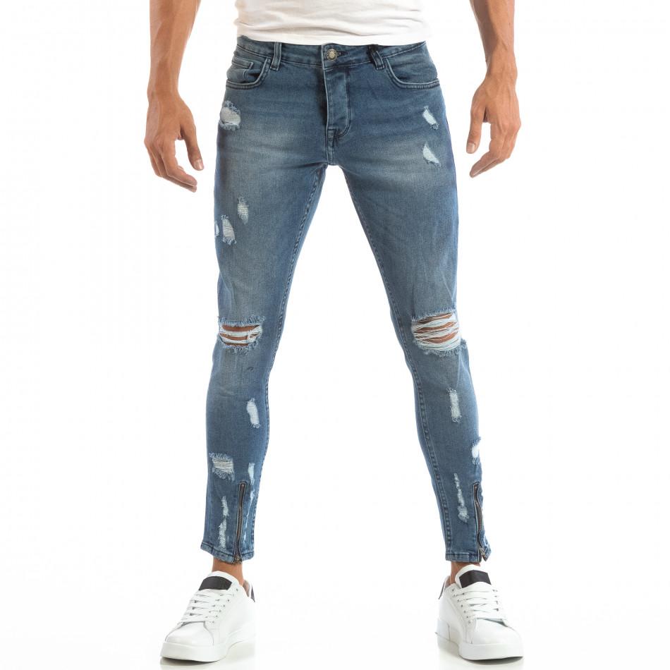 Blugi Skinny albaștri pentru bărbați cu fermoare la crac it240818-61