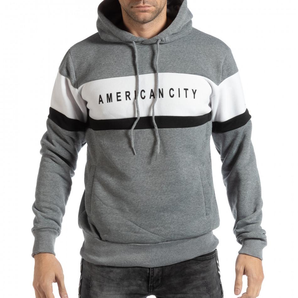 Hanorac pentru bărbați American City gri it261018-87
