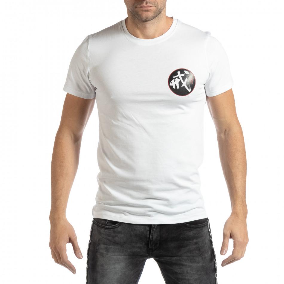 Tricou alb cu motiv oriental pentru bărbați it261018-118