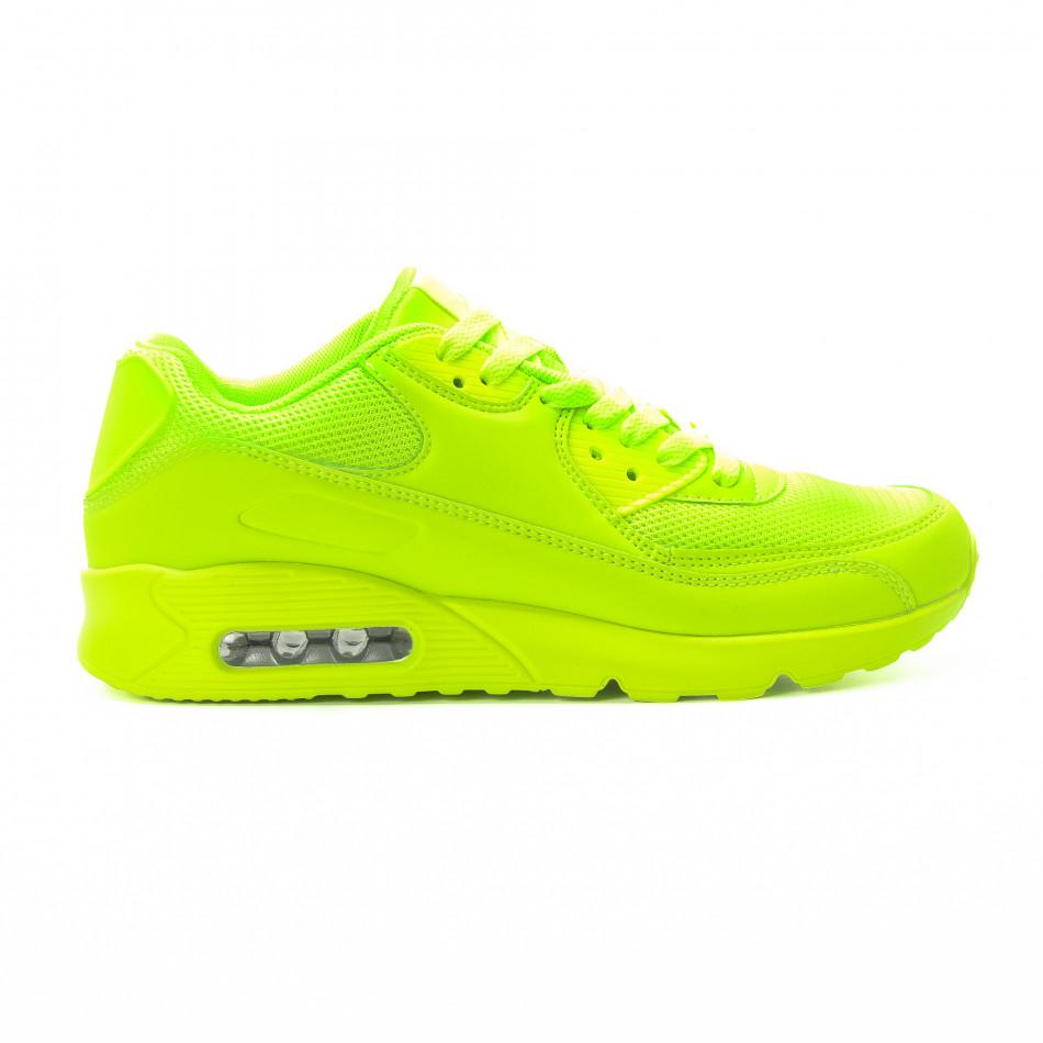 Adidași pentru bărbați în verde neon cu perna de aer it301118-1