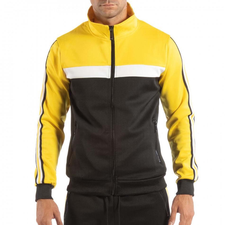 Hanorac negru 5 striped cu galben pentru bărbați it240818-108