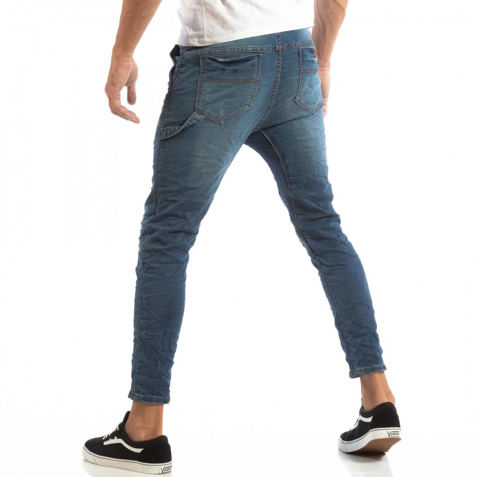 Blugi albaștri pentru bărbați cu talie elastică it240818-45