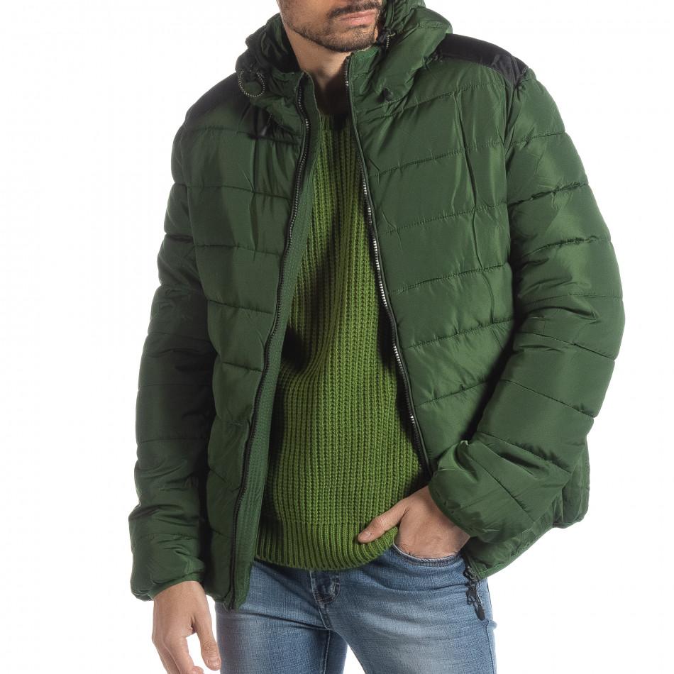 Geacă pentru bărbați verde cu puf și părți negre it051218-65