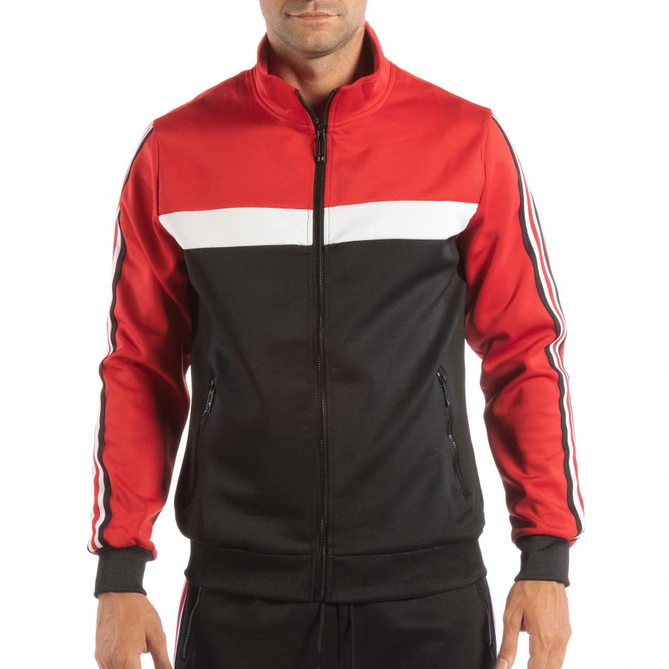 Hanorac negru 5 striped cu roșu pentru bărbați it240818-107