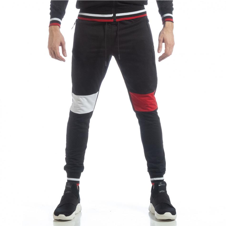 Pantaloni sport de bărbați negri cu accente it040219-60