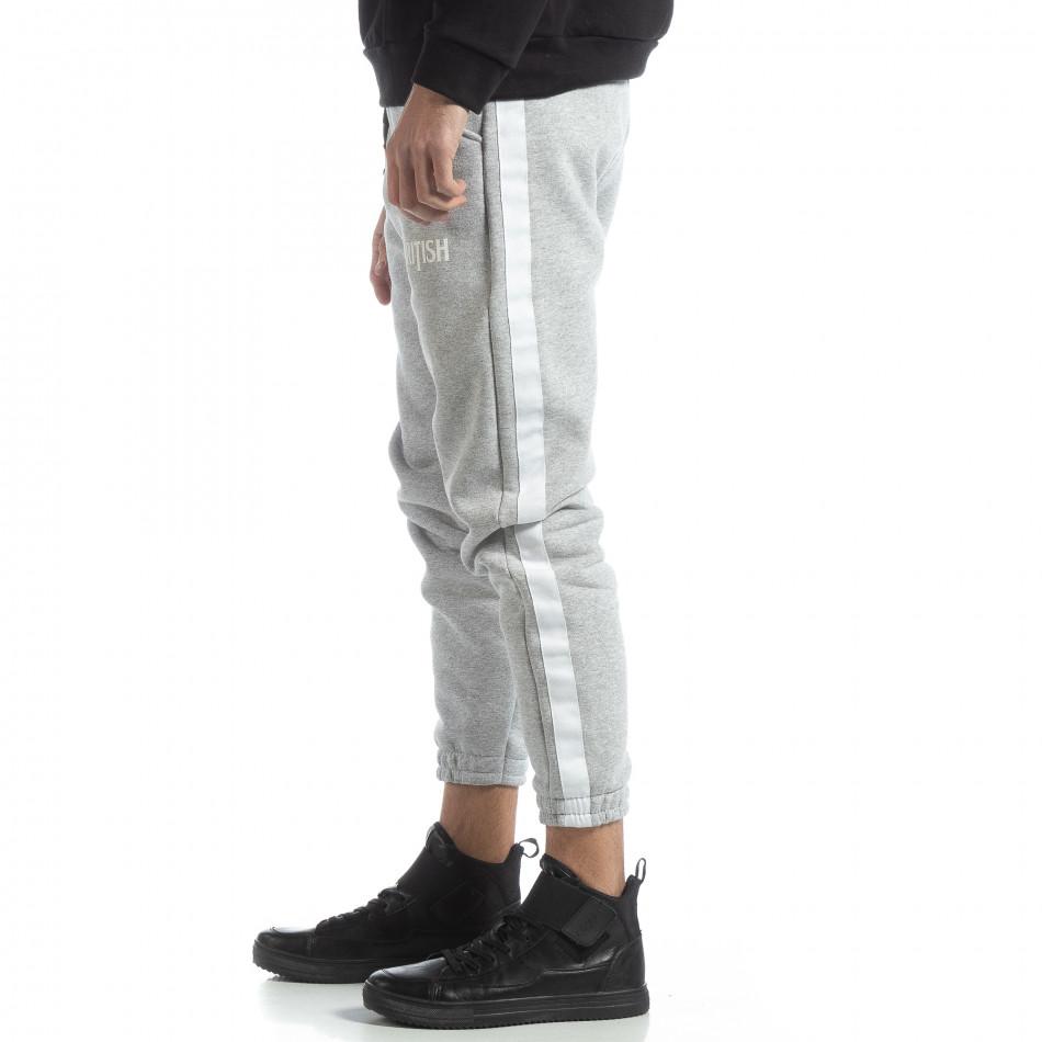 Pantaloni de trening din bumbac în gri deschis British pentru bărbați it051218-21