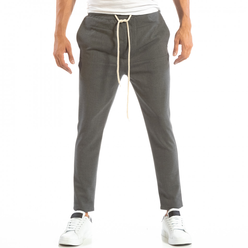 Pantaloni tip Jogger ușori în gri închis pentru bărbați it240818-66