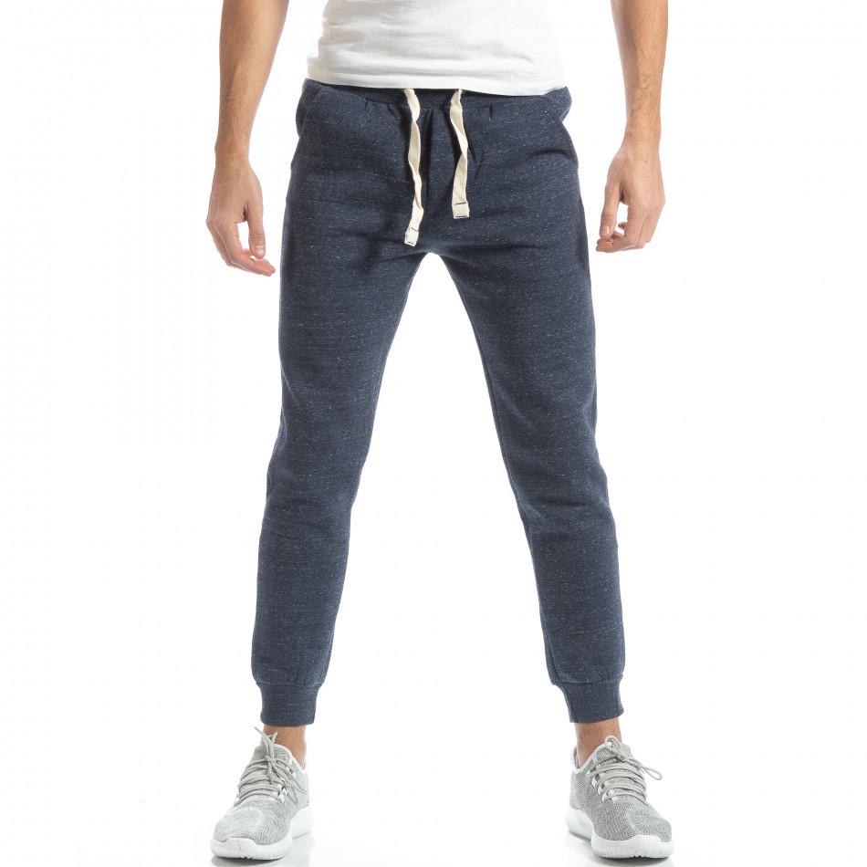 Pantaloni de trening pentru bărbați basic în melanj albastru  it051218-18