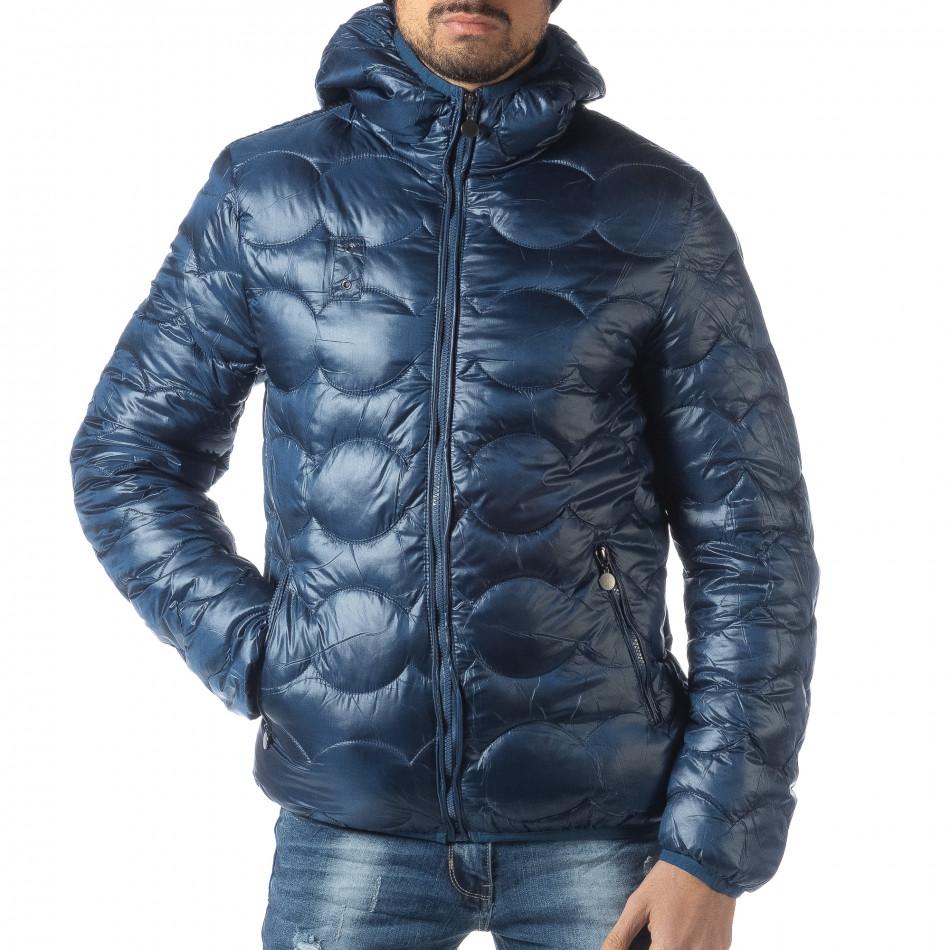 Geacă matlasată pentru bărbați albastră cu puf  it051218-66