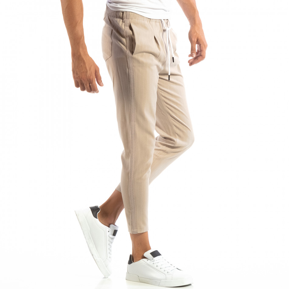 Pantaloni ușori bej în dungi pentru bărbați it240818-70