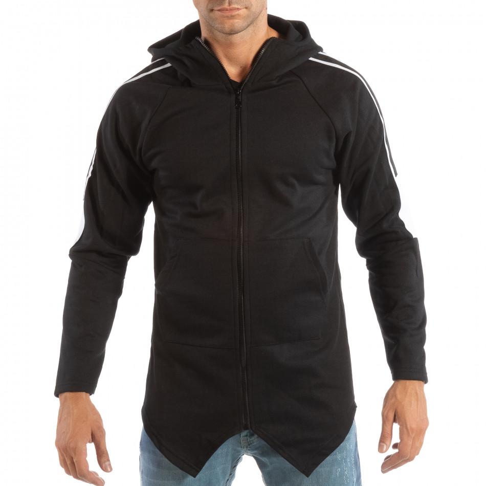 Hanorac negru cu glugă și benzi albe pentru bărbați it240818-133